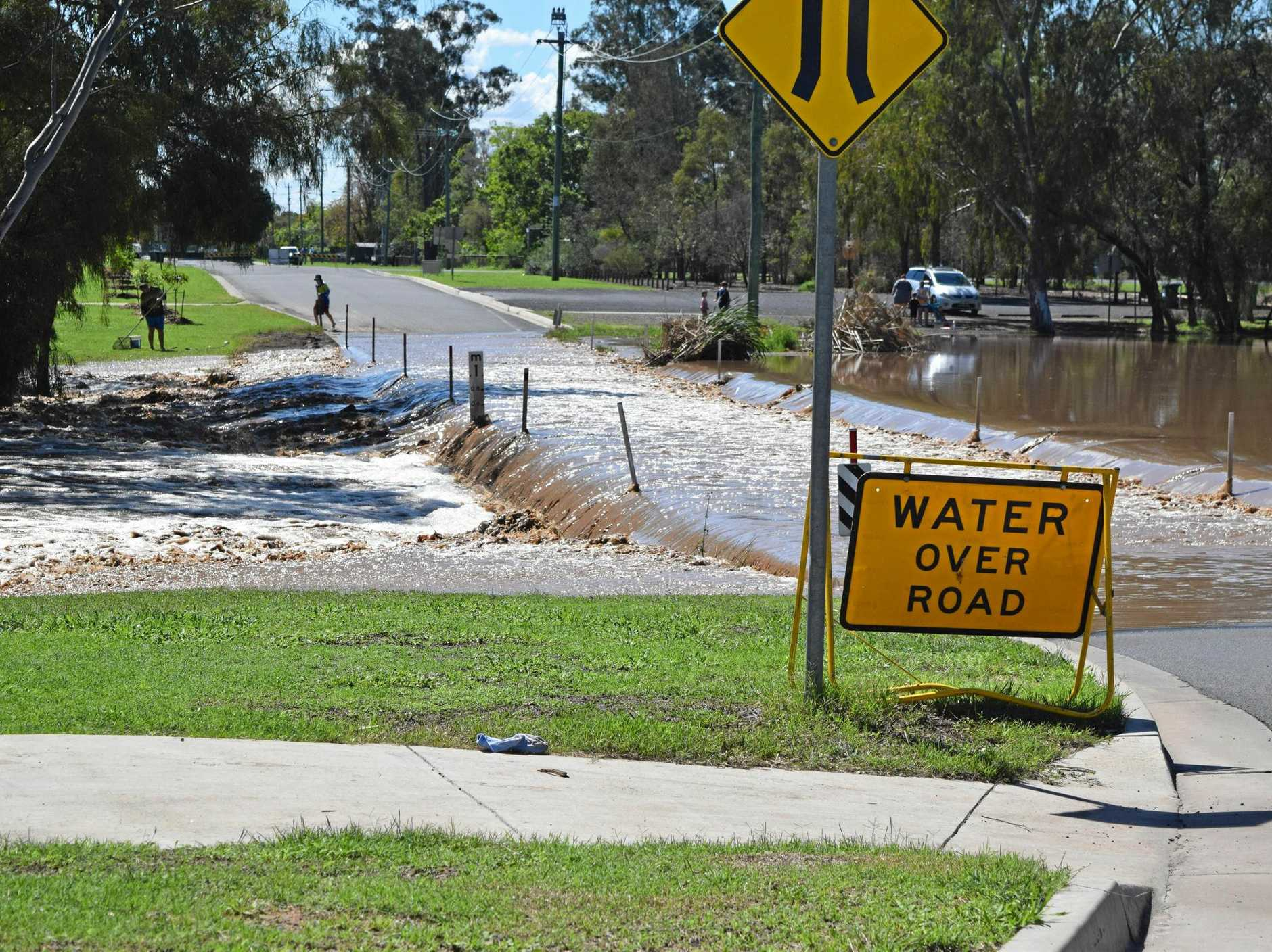 OVERFLOWING: Water is still going over the Edward St weir following the large quantity of rainfall over the weekend.
