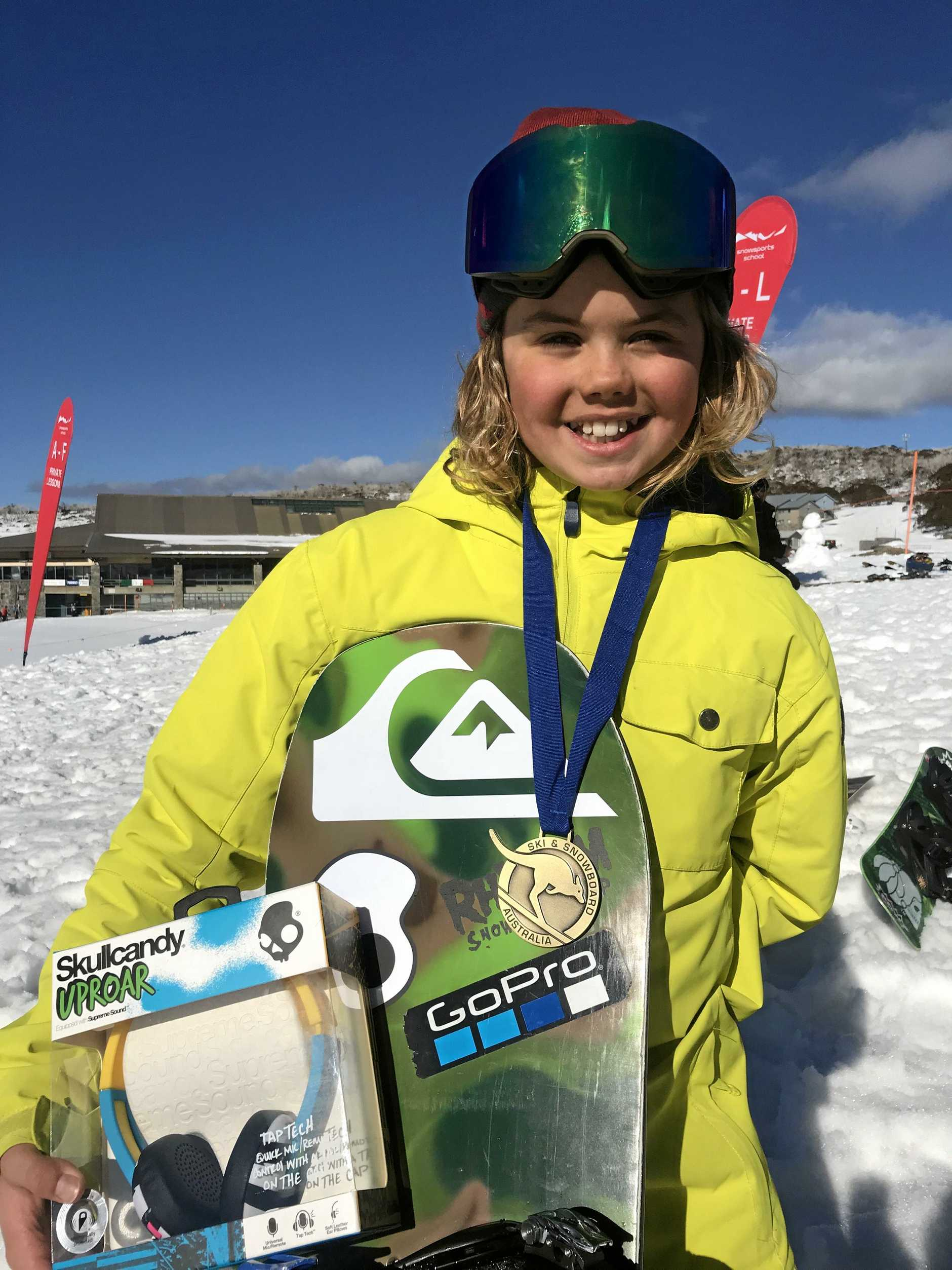 Coolum State High School teenager Jesse Parkinson won the Australian junior slopestyle title recently at Perisher Ski Resort.
