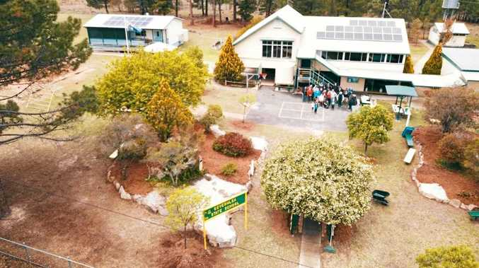 HEAVENS ABOVE: A drone shot taken from high above Severnlea State School.
