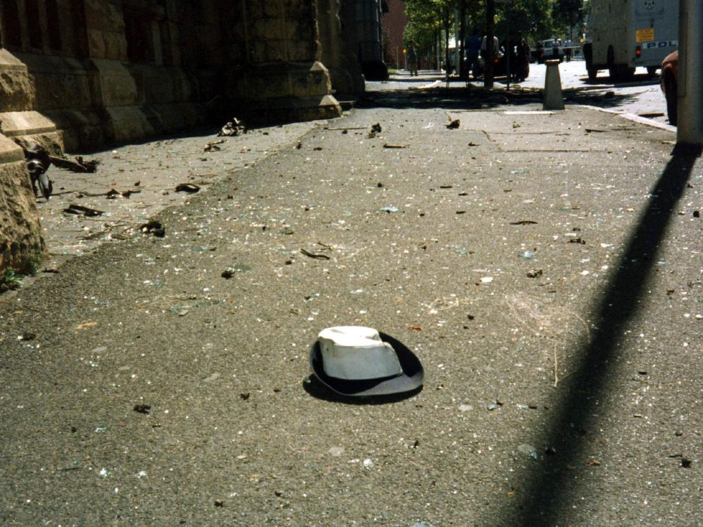 Angela Taylor's cap after the Russell Street bombing.