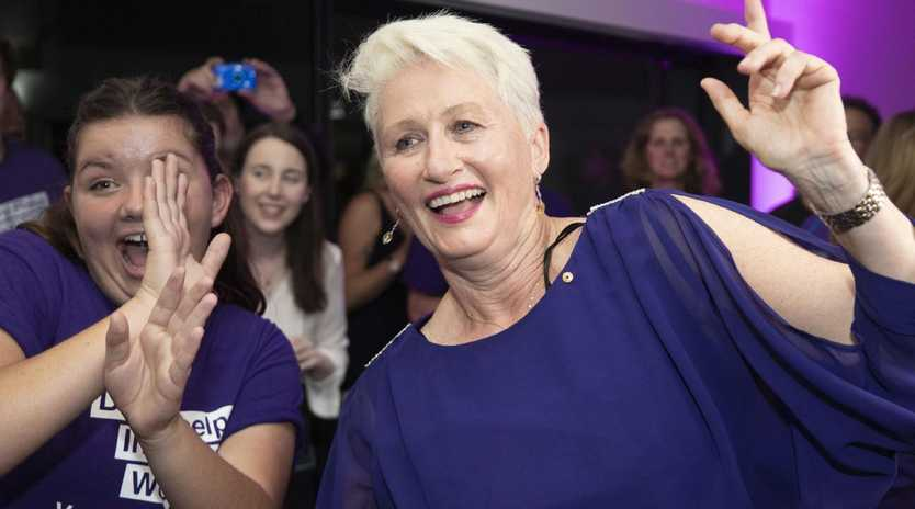 Dr Kerryn Phelps celebrates winning the seat of Wentworth at the North Bondi Surf Lifesaving Club. Picture: Cole Bennetts/Getty Images