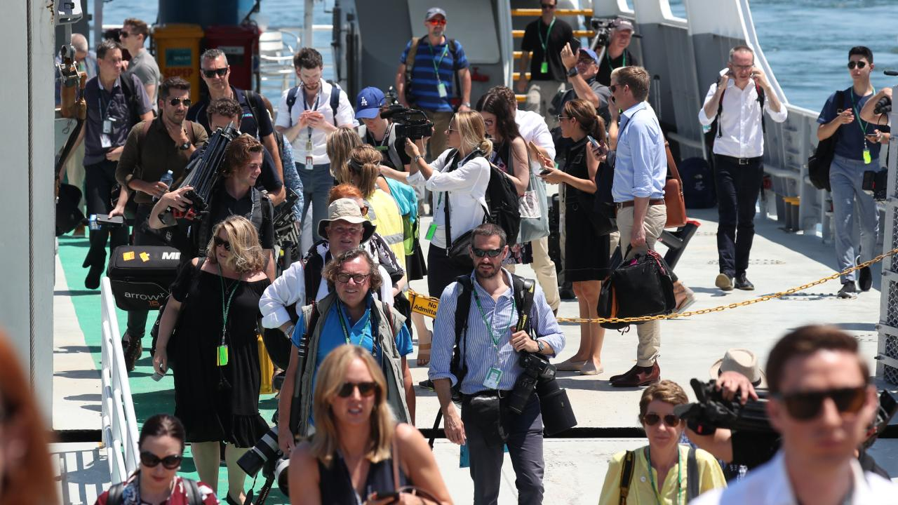Just some of the huge media pack that travelled to Fraser Island ahead of Harry's arrival. Picture: Annette Dew