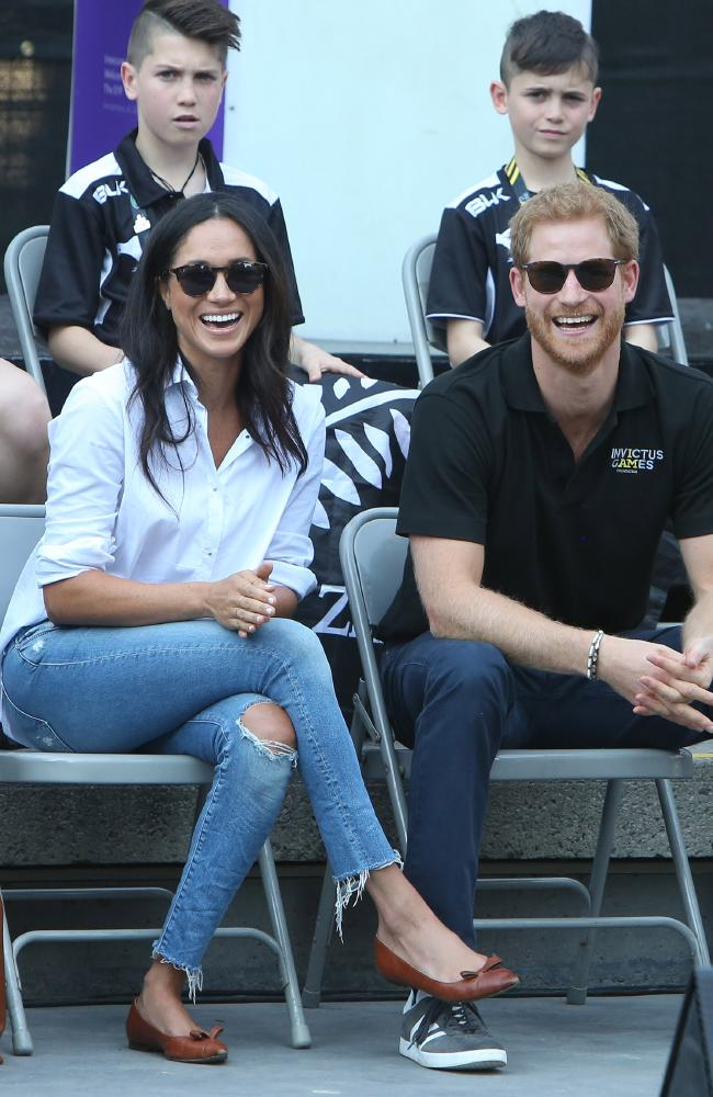 Meghan Markle loves shoe label Sarah Flint, which she wore during the Toronto Invictus Games. Picture : SPLASH