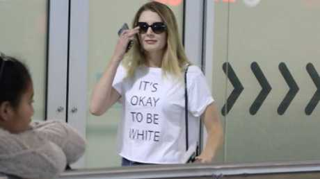 The slogan for Hanson's motion took off when US commentator Lauren Southern visited Australia wearing an 'It's okay to be white' T-shirt. Picture: Twitter