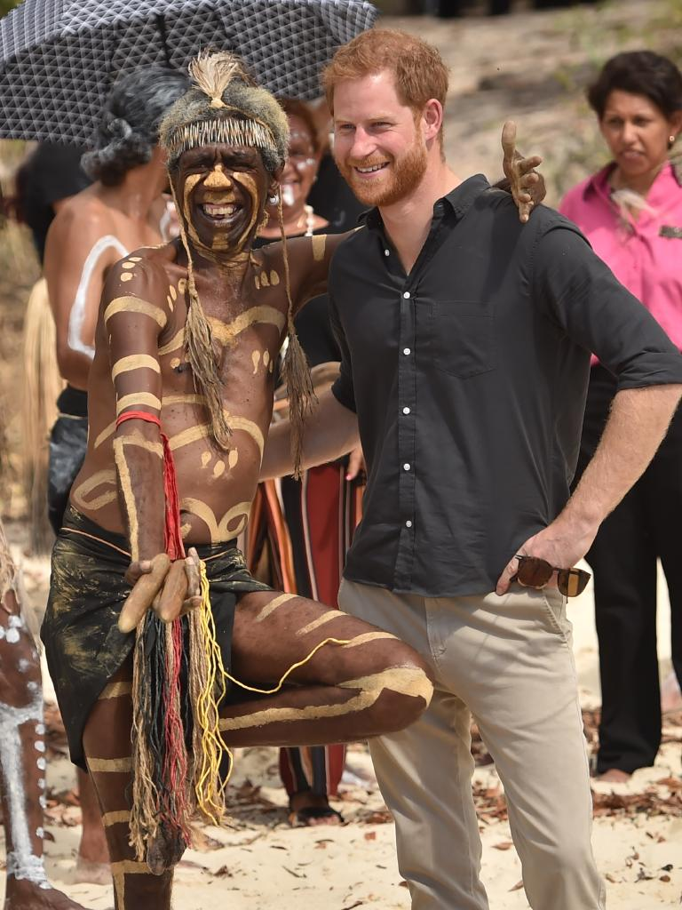 Prince Harry with Buchalla dancer Joe Gala. Picture: AAP/Peter Parks