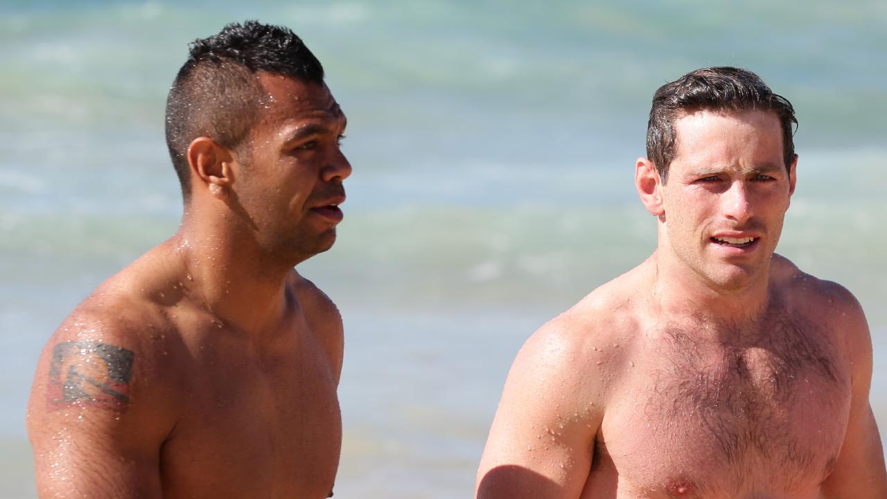 Kurtley Beale could be forced to cover his Aboriginal flag tattoo at the Rugby World Cup next year. Picture: Craig Wilson