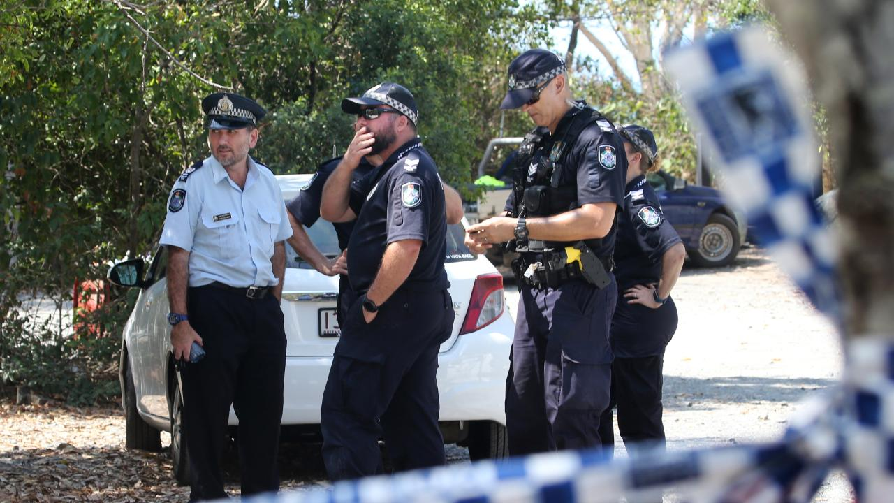 Police and SES at the crime scene at Wangetti Beach. Picture: Anna Rogers