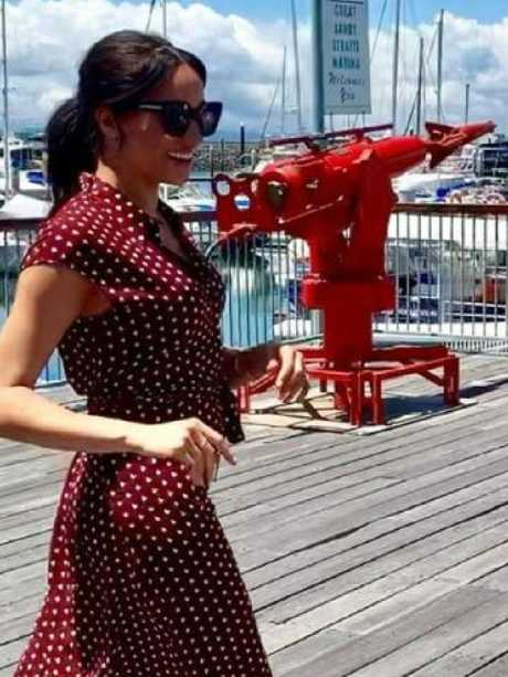 Meghan stunned onlookers in a polka dot dress from & Other Stories. Picture: @herveybayecomarinetours