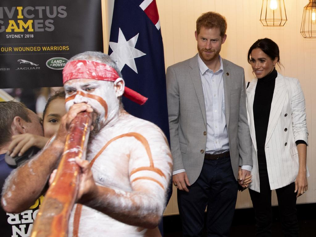 Harry and wife Meghan are in Queensland today. Picture: AP