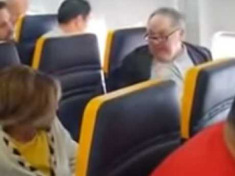 """Ryanair racist unleashes tirade on woman sitting next to him, calling her """"ugly"""". Picture: YouTube"""