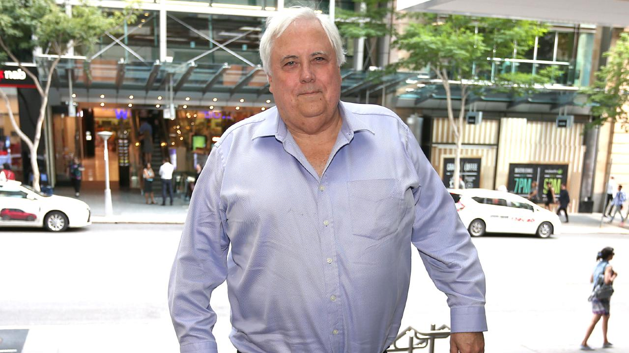 Clive Palmer talks Titanic II in Brisbane. Picture: AAP