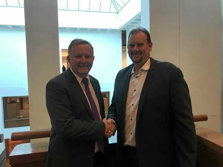 Labor's candidate for Capricornia Russell Robertson meeting Shadow Minister for Tourism Anthony Albanese.