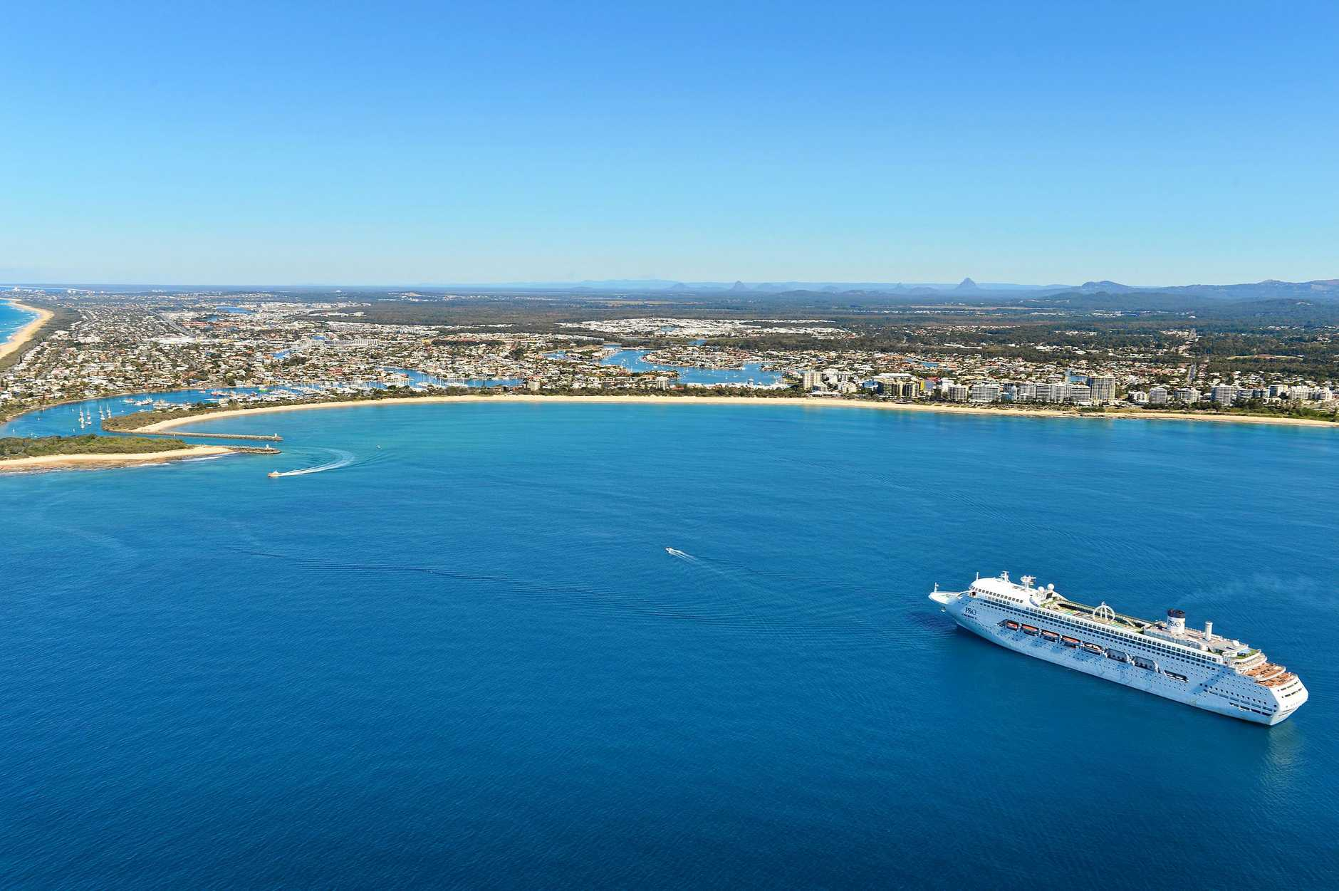 CRUISE SHIP: P&O's Pacific Jewel anchors off Mooloolaba on a beautiful and perfect winter's day.