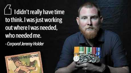 Corporal Jeremy Holder earned the Medal of Gallantry after he patched up six Australian commandos and their Afghan interpreter during a single conflict.