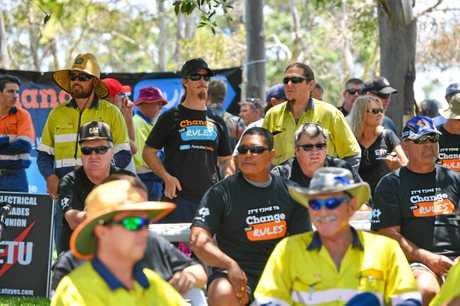 Hundreds of Gladstone workers turned out at the Marina Parklands for the Change the Rules rally.