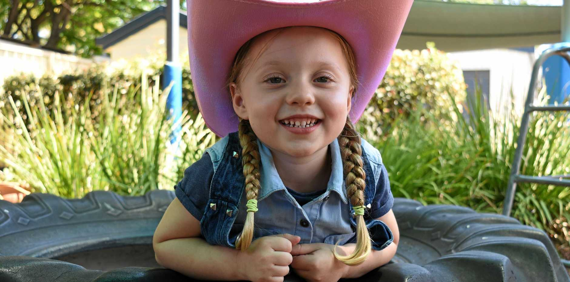 RODEO READY: Elaina Baque from Warwick Community Kindergarten is all dressed up for rodeo week in Warwick.