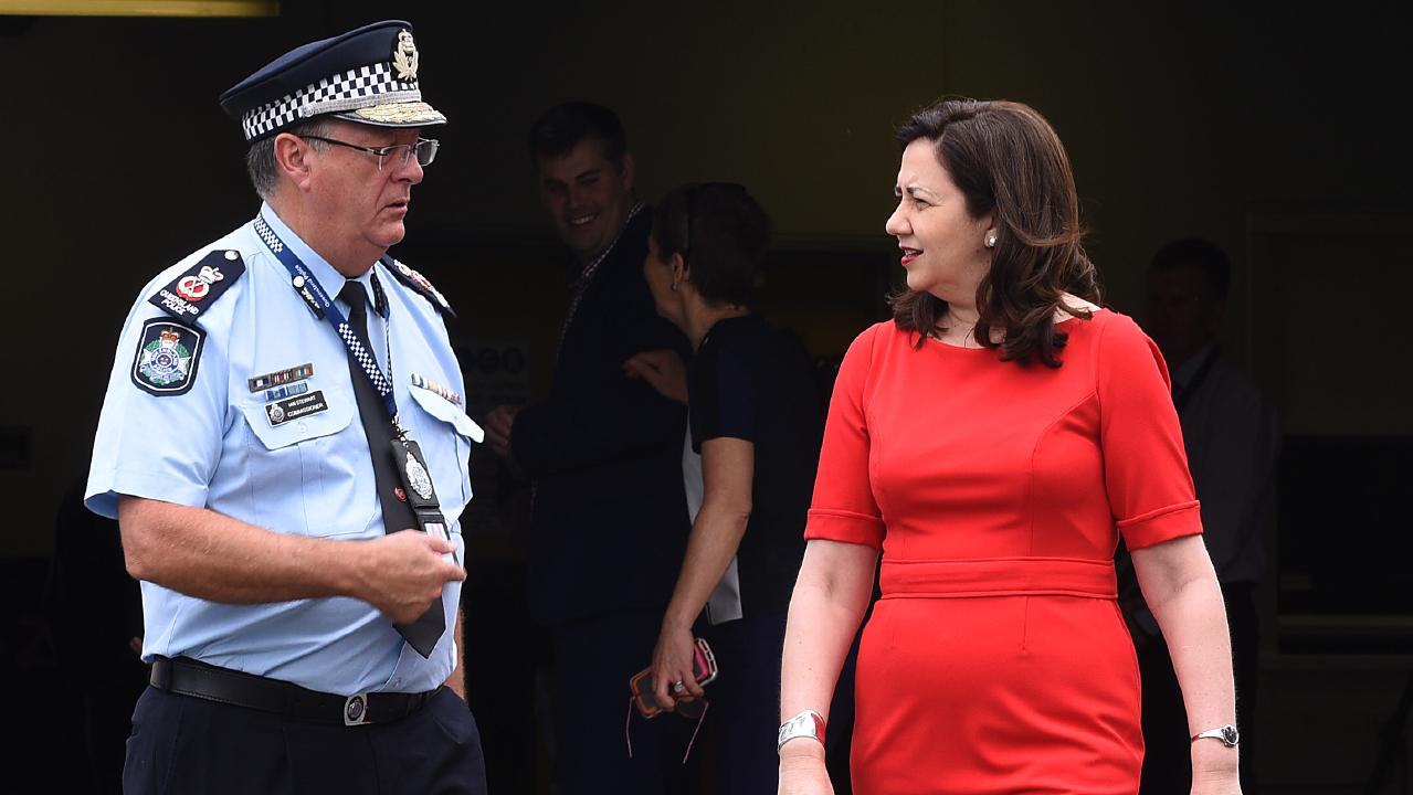 The Premier with Police Commissioner Ian Stewart — domestic violence remains a political battleground for the Government. (AAP image, John Gass)