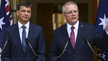 Scott Morrison addresses the media with Energy Minister Angus Taylor. Picture: AAP Image/Lukas Coch