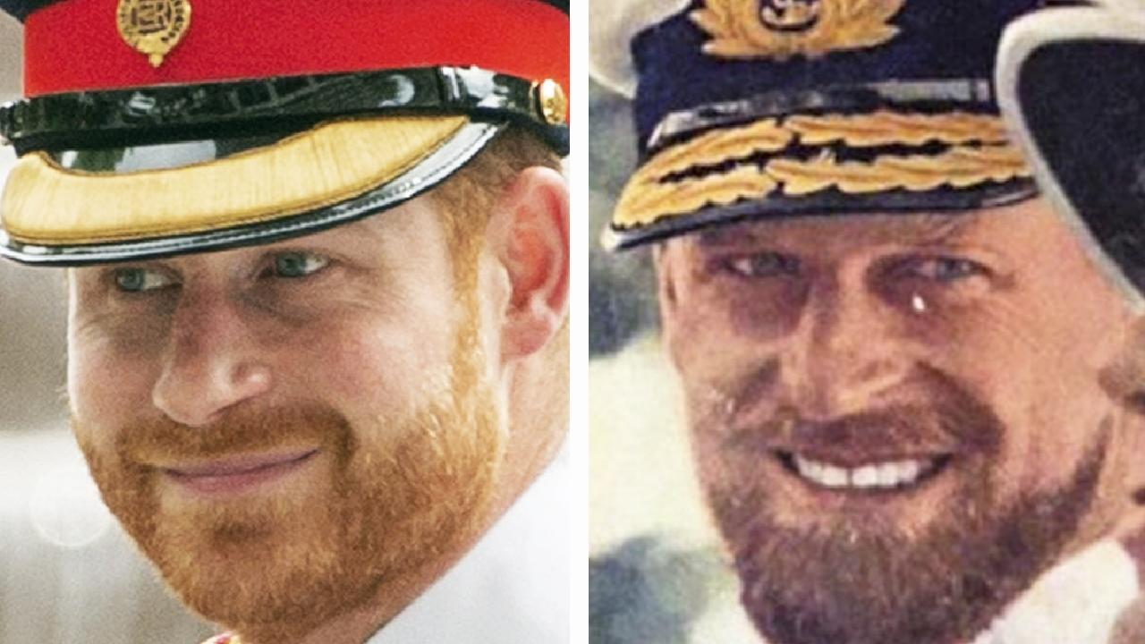 Prince Harry, left, looks just like his grandfather did at the same age.