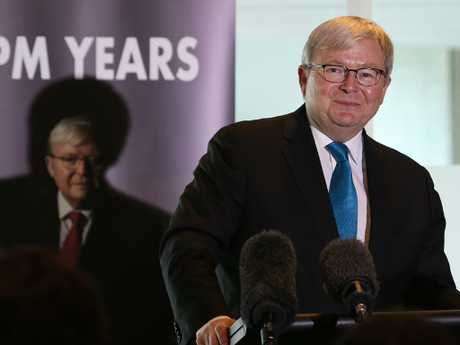 Former prime minister Kevin Rudd launches his second political memoir, The PM Years, in Canberra. Picture: Kym Smith
