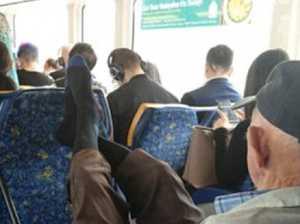 Serial 'manspreader' terrorising trains