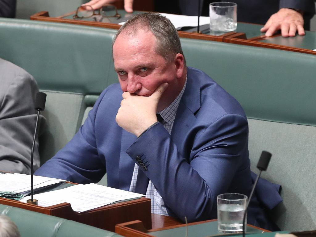"Nationals MP Barnaby Joyce, pictured in Question Time on Tuesday, said Mr Turnbull may be ""sulking"" after losing the leadership and should not represent Australia at the conference. Picture: Kym Smith"