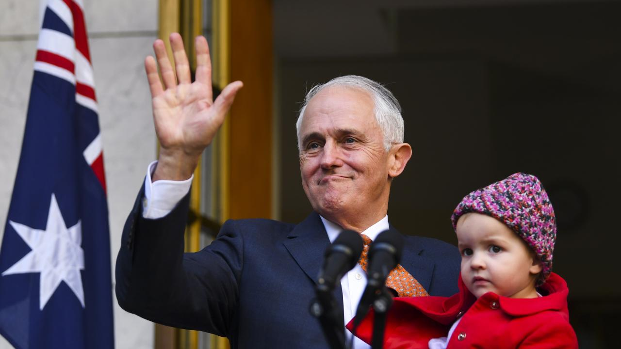 Outgoing Prime Minister Malcolm Turnbull waves during a press conference at Parliament House in Canberra on Friday, August 24, 2018. Lukas Coch/AAP