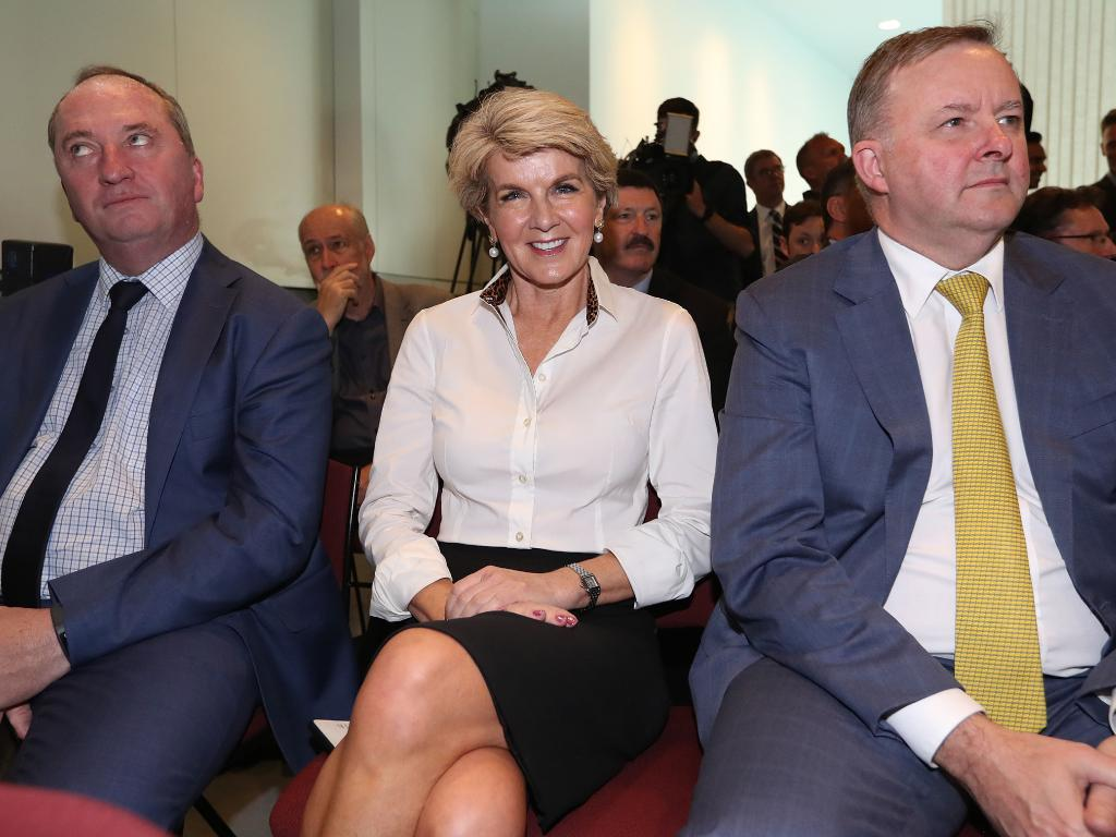 Barnaby Joyce, Julie Bishop and Anthony Albanese at the launch. Picture: Kym Smith