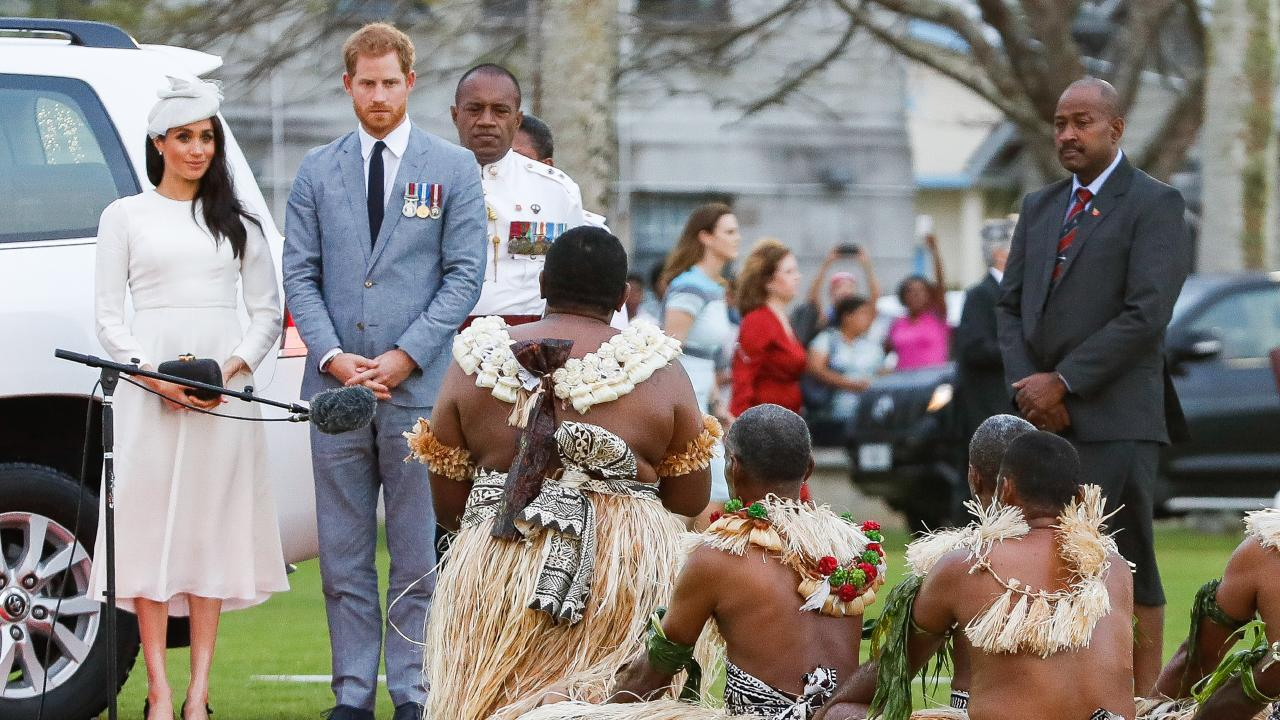 Prince Harry and Meghan at a welcome ceremony in Suva. Picture: Chris Jackson/Getty