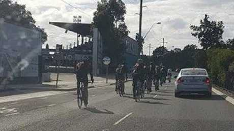 Sydney cyclists taking up a lane along Captain Cook Drive road. Source: Perth Have a whinge/Facebook