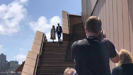 Harry and Meghan arrive to meet fans outside the Sydney Opera House. Picture: Bronte Coy, news.com.au