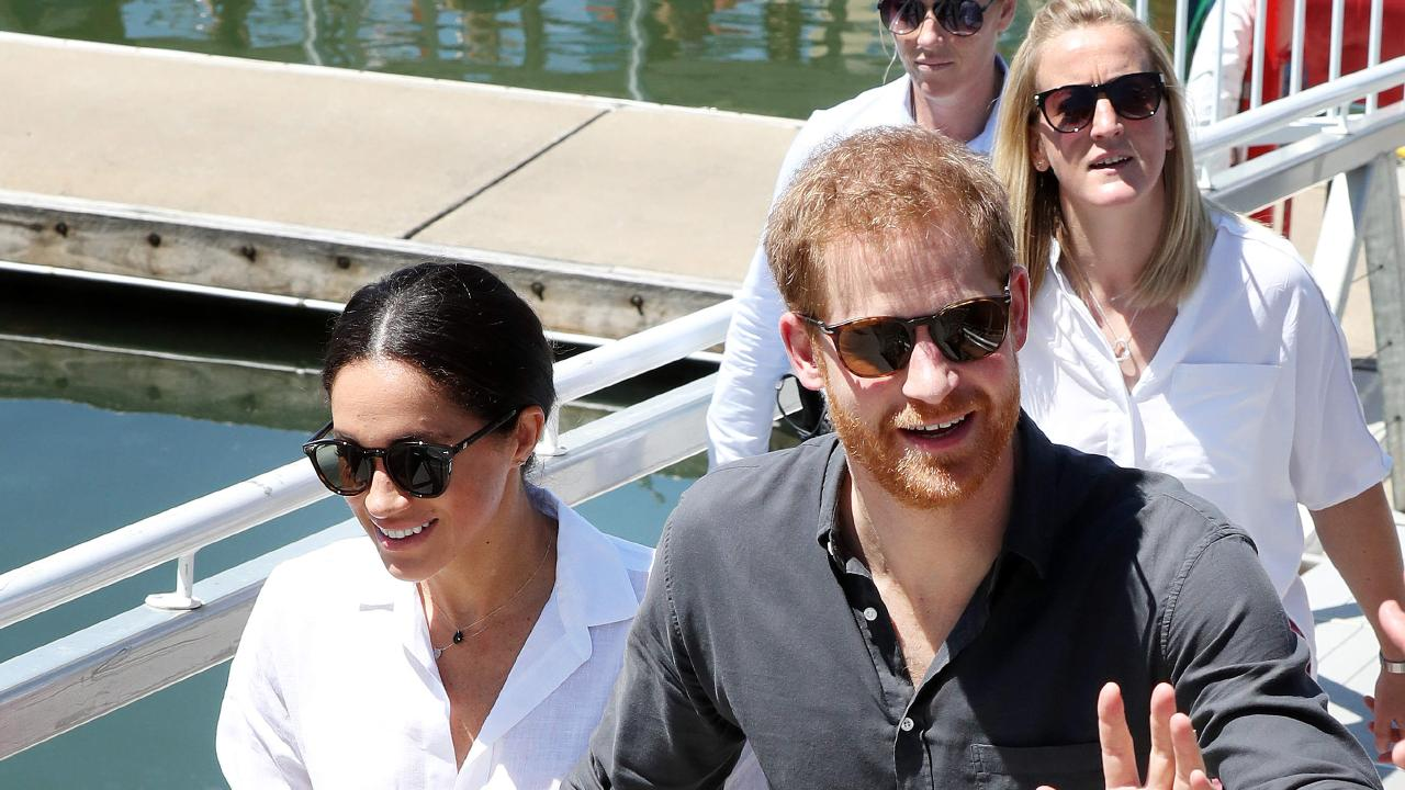Prince Harry and pregnant wife Meghan Markle arrive at the Great Sandy Straits Marina, Hervey Bay. Photographer: Liam Kidston
