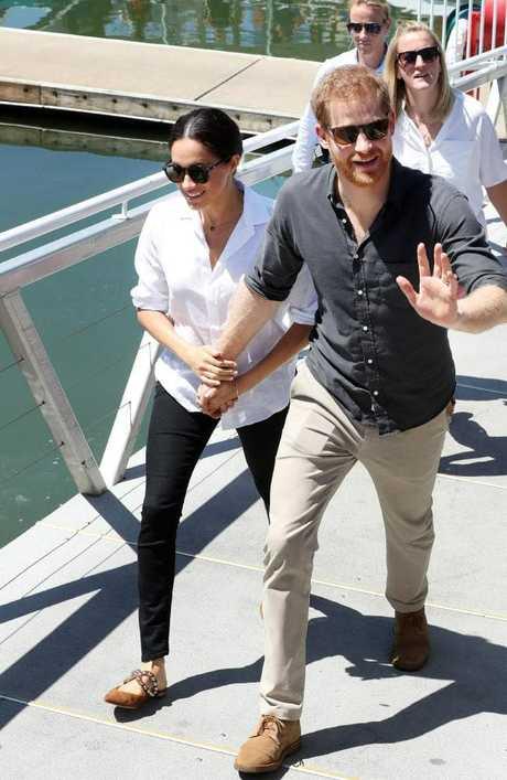 The couple arrive at the Great Sandy Straits Marina, Hervey Bay. Photographer: Liam Kidston