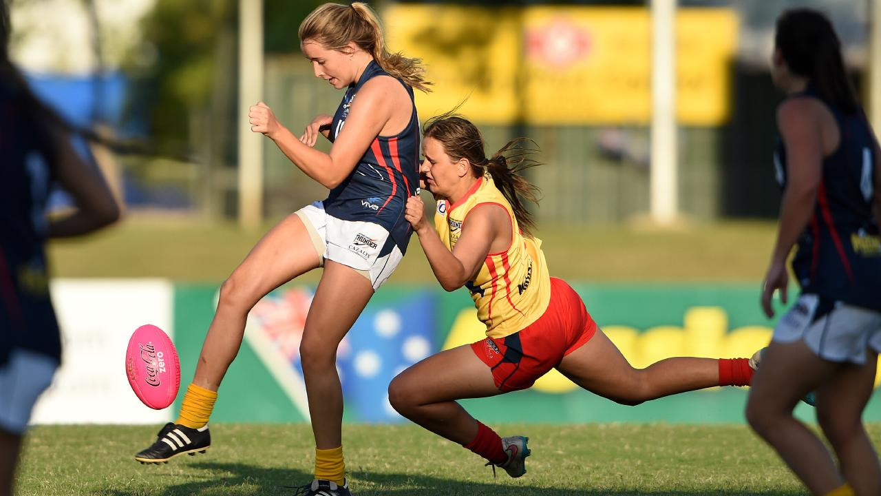 Danielle Ponter lays a trademark chase-down tackle in Darwin.