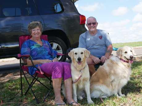 Sue and John Kleesh, with dogs Kara and Sharni.