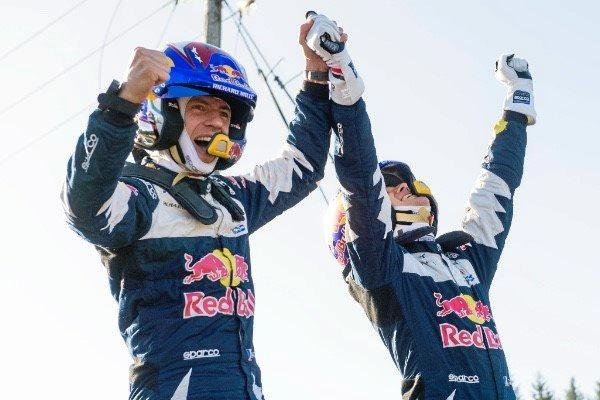 Five-time world champions Sébastien Ogier (right) and co-driver Julien Ingrassia celebrate after Wales Rally GB.