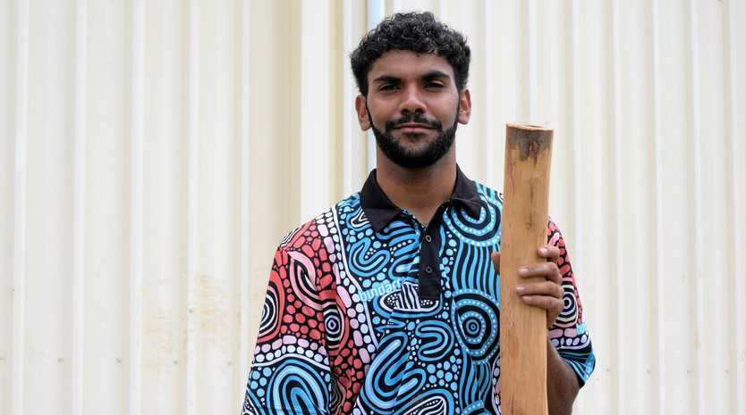 SYMBOLIC: Corey Appo with the didgeridoo he will be donating to the RM Williams Centre.