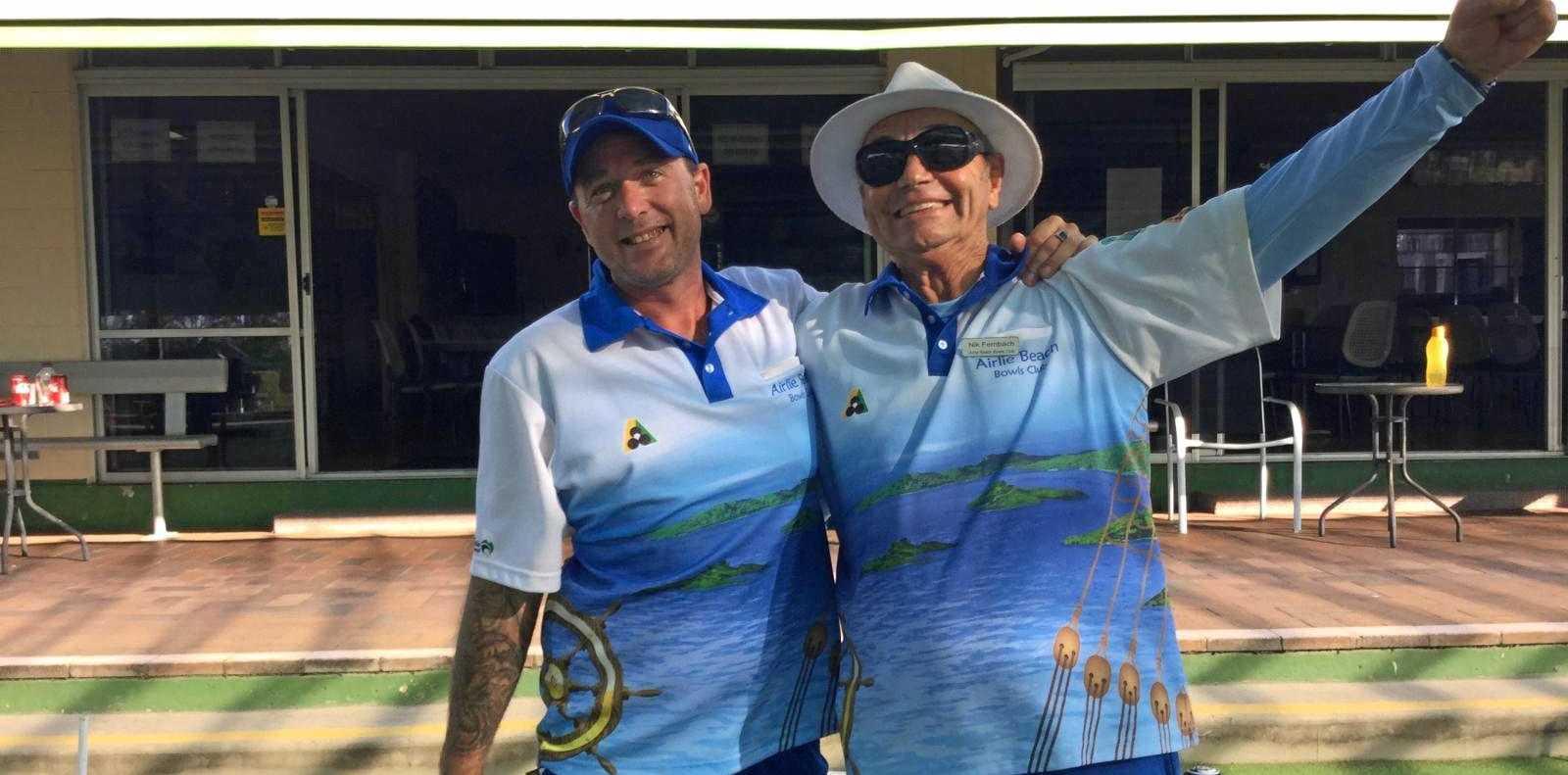 HAPPY DAYS: Airlie Beach duo John Beach Junior and Nik Fernbach landed success in the B Grade men's pairs in Mackay last week.