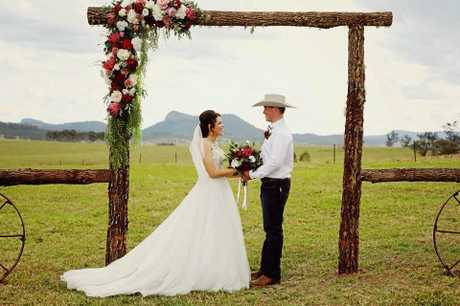 The Long term couple tied the knot at their Woodenbong property on September 29 before the bull crashed the wedding.