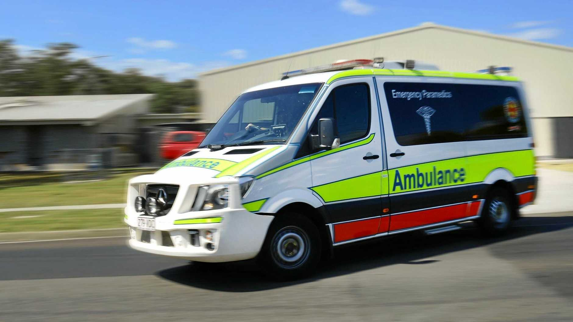 Six patients were transported to the Mackay Base Hospital yesterday after their car struck a cow on the Bruce Highway