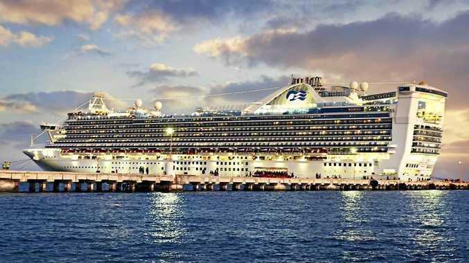 RAIL SAIL TRAVEL: Cruise ship Caribbean Princess at dusk.