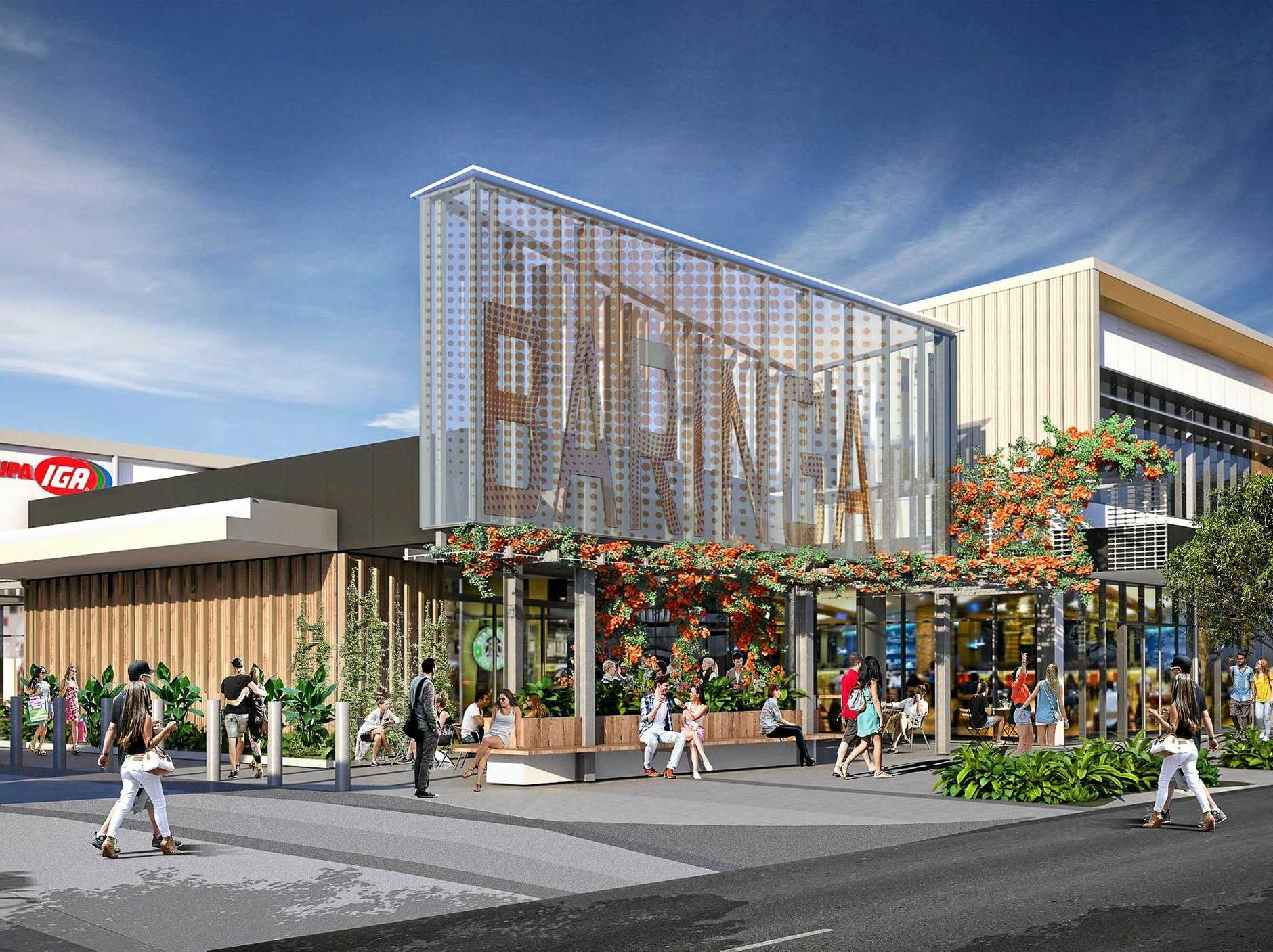 Concept design of the Baringa gateway entry. Work has begun on the $33 million Stockland Baringa Shopping Centre development, due for completion mid next year.