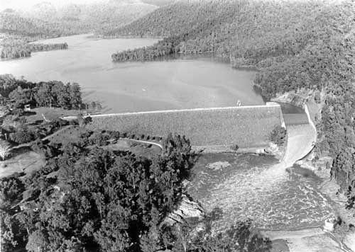 Borumba Dam from the air (circa early 1970s).
