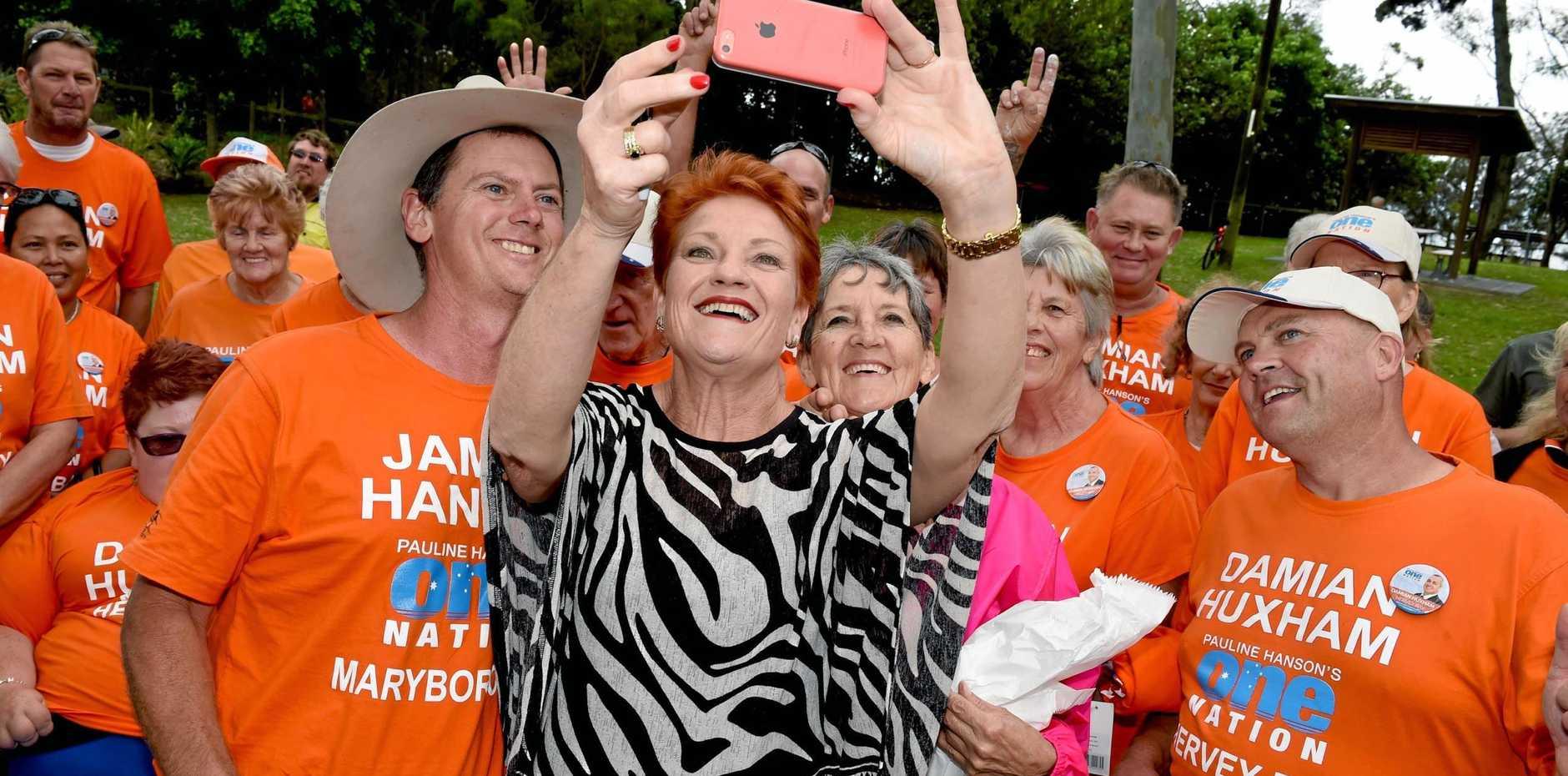 Pauline Hanson and her candidates, Damian Huxham and James Hansen in Hervey Bay.