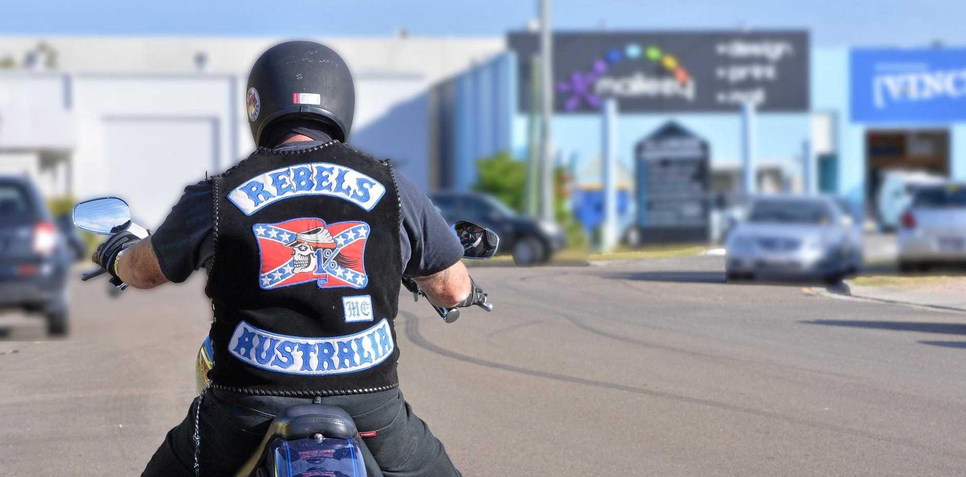 *** WARNING: BLUR NUMBERPLATE ** Rebels motorcycle member.  Photo: John McCutcheon / Sunshine Coast Daily