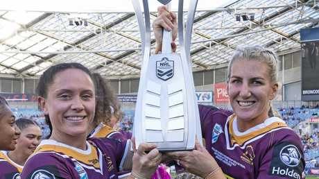 Brittany Breayley of the Broncos and Ali Brigginshaw of the Broncos hold up the trophy during the NRL Women's Premiership Grand Final between the Brisbane Broncos and the Sydney Roosters at ANZ Stadium in Sydney, Sunday, September 30, 2018. (AAP Image/Craig Golding) NO ARCHIVING, EDITORIAL USE ONLY