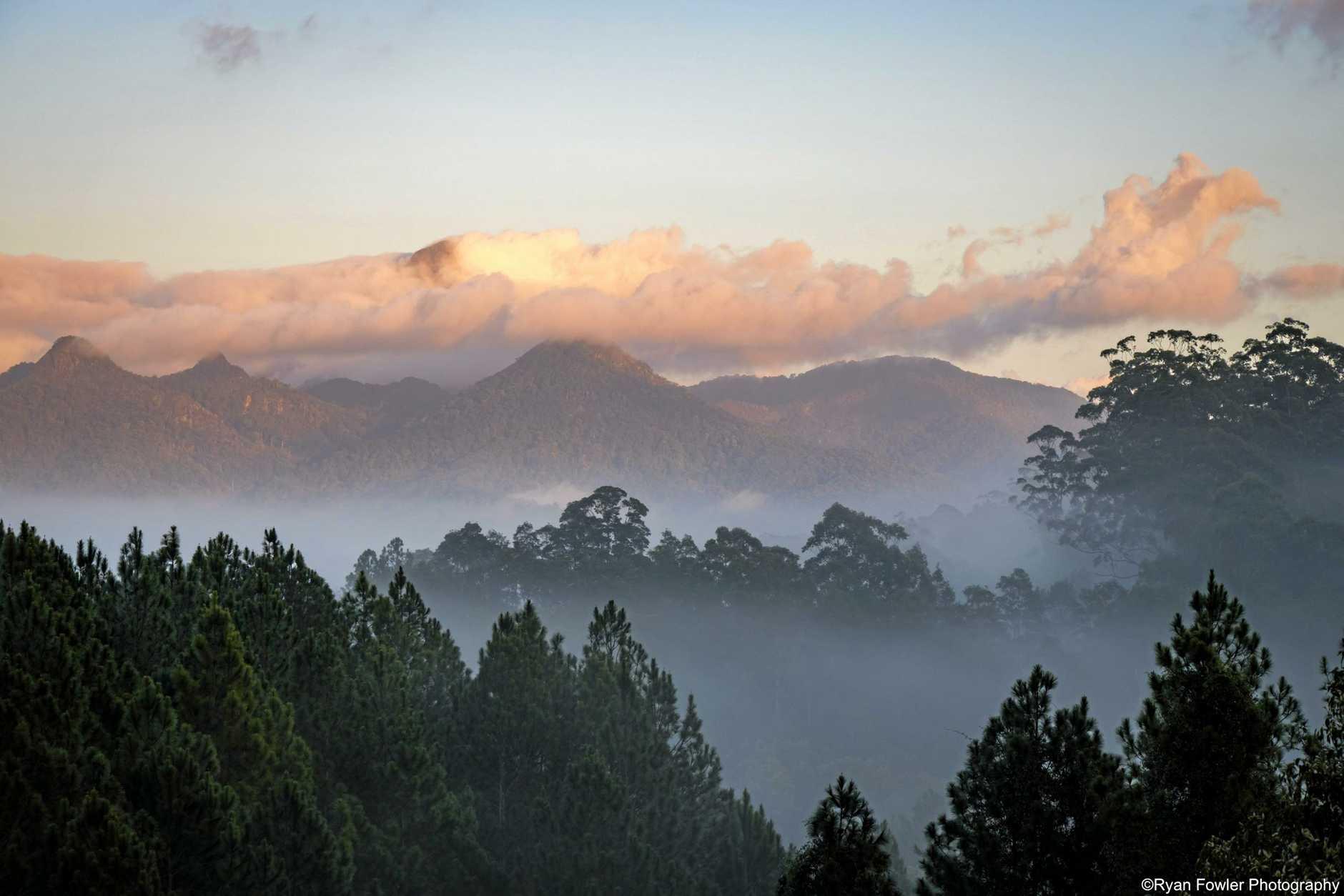 SUBLIME: Early morning sunrise looking towards Mt Warning.