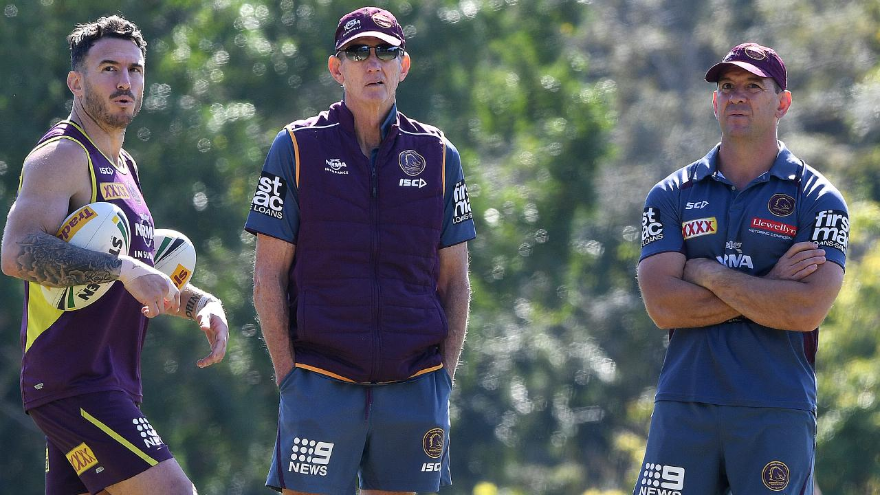 Darius Boyd and Wayne Bennett with head coach hopeful Jason Demetriou. (AAP Image/Dave Hunt)