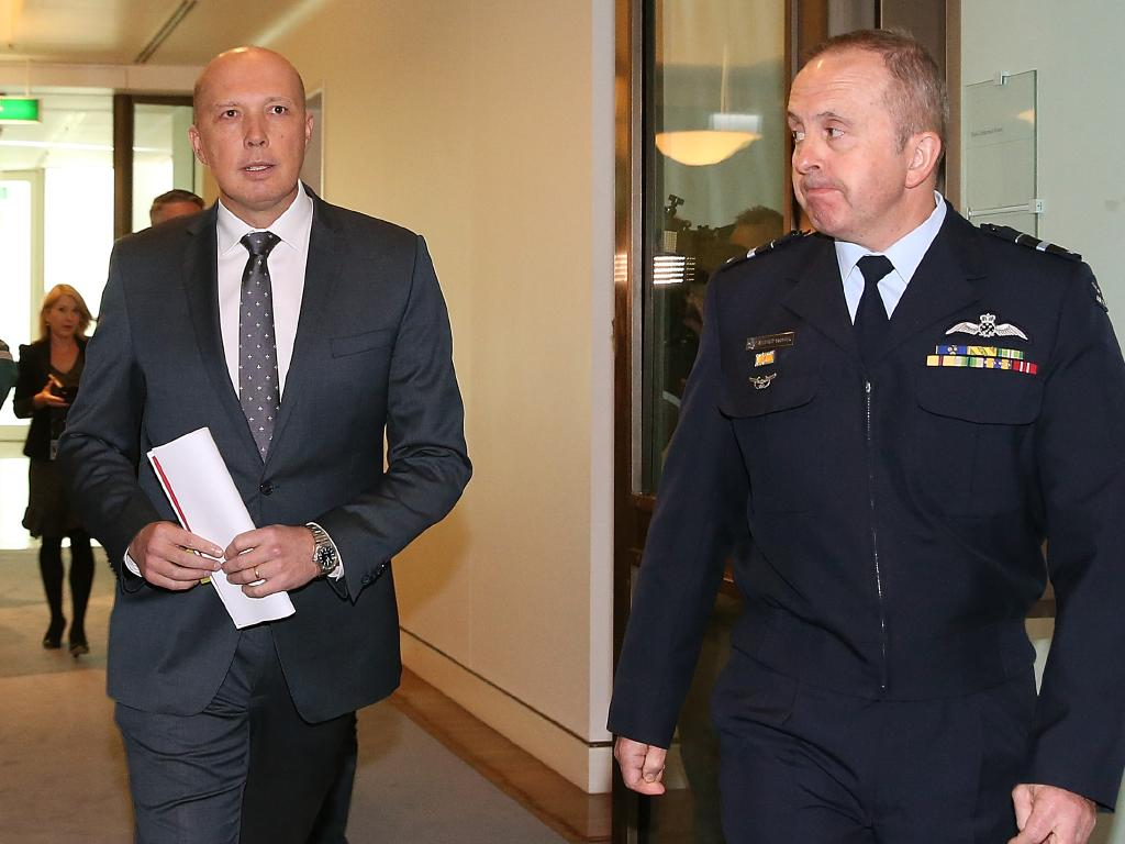 Minister for Home Affairs Peter Dutton with Commander of Operation Sovereign Borders Air Vice-Marshal Stephen Osborne. Picture: Kym Smith