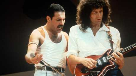Freddie Mercury and Brian May at Live Aid on July 13, 1985 in London.